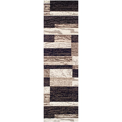 - Superior Modern Rockwood Collection Area Rug, 8mm Pile Height with Jute Backing, Textured Geometric Brick Design, Anti-Static, Water-Repellent Rugs - Chocolate, 2'7