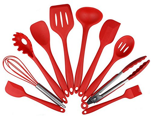 Silicone Heat Resistant Kitchen Cooking Utensil 10 Piece Cooking Set Non-Stick Kitchen Tools (Red) - Nylon Stir Fry Turner