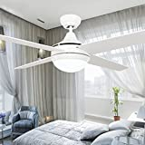 RainierLight Antique and Vintage Ceiling Fan 4 Walnut Leaves Glass Lampshade Remote Control Home Decoractors Mute Electric Fan Chandeliers (52inch, White)