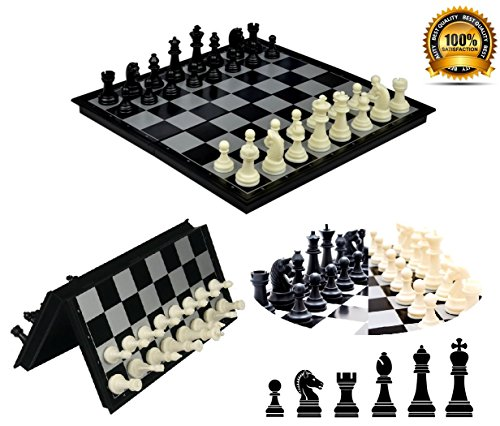 SPJ: Magnetic Chess and Checkers Set for Travel (10*10*0.8in) (Plastic Travel Chess)