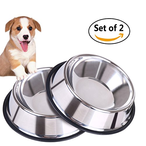 Albabara Set of 2 Dog Bowls Stainless Steel Dog Bowl with Non Skid Rubber Base Break-Resistant Pet Bowl Food and Water Bowl for Feeding Small&Middle Size Dog Dogs Cat Cats 32 Ounce (100 Floors Halloween 3)