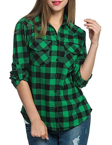 Flannel Good - Genhoo Women's Roll Up Long Sleeve Tartan Plaid Collared Button Down Boyfriend Casual Flannel Shirt Top