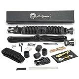 Emergency Paracord Bracelet Survival Gear Kit (25 PIECE) Adjustable Flint Fire Starter Ferro