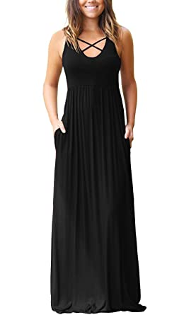 6e5b546498 LACOZY Women s Sleeveless Racerback Maxi Dresses with Pockets Plain Loose  Casual High Waisted Long Dresses Black