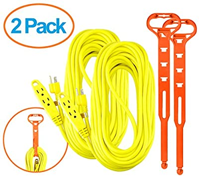 Aurum Cables 50 Feet 3 Outlet Extension Cord 14AWG Indoor/Outdoor Use- 2 Pack (Yellow)- With 2 Holders - UL Listed