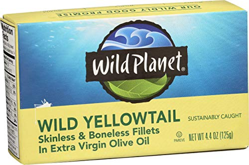 - Wild Planet Wild Yellowtail Fillets in Organic Extra Virgin Olive Oil, Skinless & Boneless, 3rd Party Mercury Tested, 4.4 Ounce
