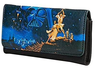 Loungefly Star Wars A New Hope Luke and Leia Faux Leather Tri-Fold Wallet STWA0027