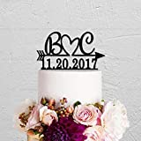 AQANATURE | Cake Decorating Supplies | Wedding Name Mumber Cake Topper,Initials Arrow Date Acrylic Silver Black Gold Wooden Cake Topper Personalized Cake Topper