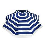 Large Blue Cabana Stripe Beach Umbrella, 78' span