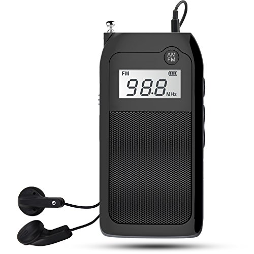 AM FM Pocket Radio with Earphones Mini Portable Transistor DSP Digital Tuning MP3 Music Player Support TF Card Rechargeable Battery for Walk by Luckyu