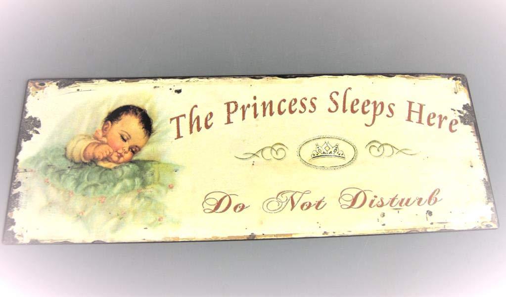 The Princess duerme aquí - no molestar - niña con texto en inglés para la sala - samfme - beige y negro con saco de dormir para bebé: Amazon.es: Hogar
