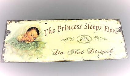 The Princess duerme aquí - no molestar - niña con texto en inglés para la sala