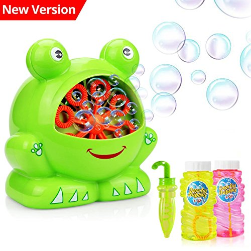 COOLWAS Bubble Machine, Toys for All Age Kids Boys Girls Automatic Durable Bubble Maker with 2 Bubble Solution for Park Wedding Indoor and Outdoor Party Christmas Birthday Gift (Christmas Machine)