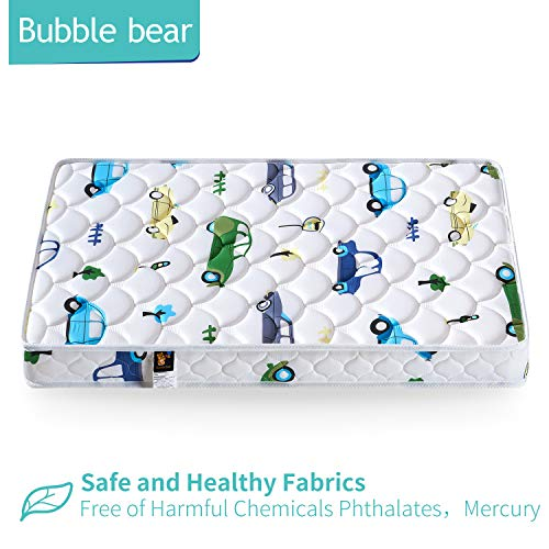 【2020 Kids' Favorites】 Bubble Bear Foam Crib Mattress And Toddler Mattress -Comfortable And Breathable & Solid Safety Edge & Size:52X27.6X5(Cute Car)