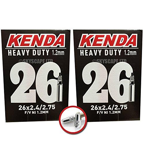 2 x Kenda HEAVY DUTY (1.2mm Thick) Inner Tubes - 26 x 2.4 - 2.75 (Downhill) - Presta Valve - PAIR - FREE SHIPPING! FREE VALVE CAP UPGRADE WORTH (Kenda Heavy Duty Tube)