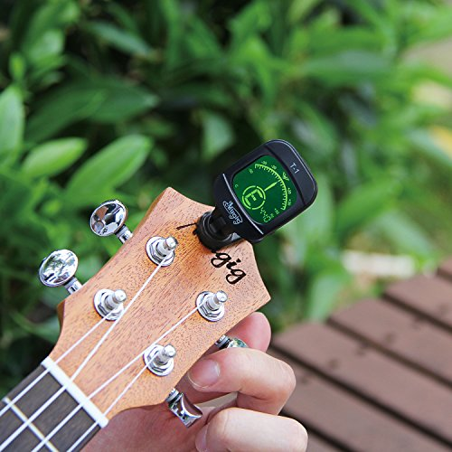 Large Product Image of Mugig Tuner Clip-on Tuner for Guitar, Ukulele, Bass, Violin, Chromatic Tuning,Large Clear Colorful LCD Display (38% Greater View),Calibrated Pitch,Battery Included, Auto Power Off