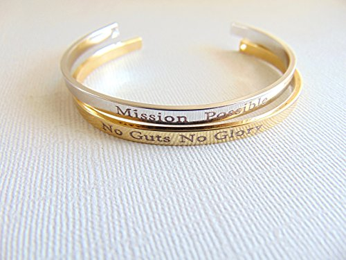 Personalized Cuff Bracelet  16K Gold Open Bangle  Custom Text Layered Bracelet  Secret Message Cuff  Hand Stamped Quote Mantra Band Bracelet