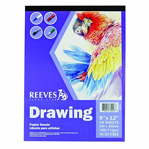 Reeves 9-Inch by 12-Inch Drawing Paper Pad, 50-Sheet - Chalk Pastel Drawing