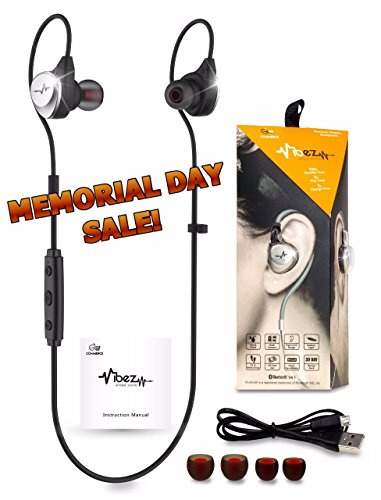 MEMORIAL DAY SALE~ Exclusive Adjustable Wireless In/Over Ear Buds Headphones with Mic ~ Ultra Secure Fit & IPX5 Sweatproof Headset ~ HD Stereo Bluetooth 4.1 Exercise Earbuds for Sports, Jogging & Gym