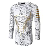 Clearance Fashion T Shirt for Men - vermers Personality Men's Casual Slim Tops Long Sleeve Printed Clothes Blouse(2XL, White)