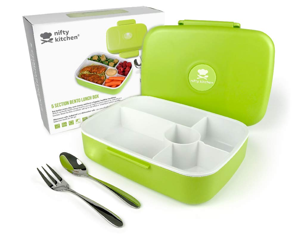 5 Compartment Bento Box - Lunch Box with LeakStopper Lid to Prevent Spills in Your Work or School Bag - Microwave Safe for Adults & Kids. Includes Cutlery + Bonus Recipes eBook Nifty Kitchen