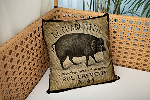Shorping Zippered Pillow Covers Pillowcases 18X18 Inch la charcuterie pig vintage burlap french Decorative Throw Pillow Cover ,Pillow Cases Cushion Cover for Home Sofa Bedding
