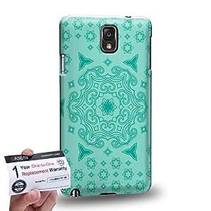 Case88 [Samsung Galaxy Note 3] 3D impresa Carcasa/Funda dura para & Tarjeta de garantía - Art Fashion Turquoise Doodle Doilies