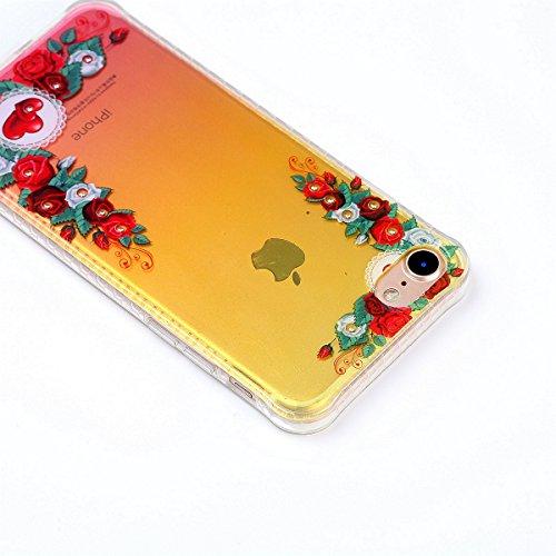 Funda iPhone 7,SainCat Moda Alta Calidad suave de TPU Silicona Diseño pintado Patrón para Funda TPU Silicona Flexible Ultra Delgado Ligero Goma Case Cover Caja Suave Gel Shock Absorción Anti Rasguños  Rosa roja