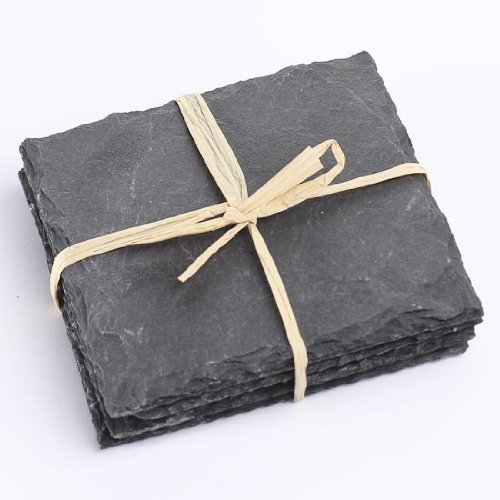 Factory Direct Craft Package of 8 Real Slate Slab Coasters Tied with Decorative Jute String (Wobble 0.5')