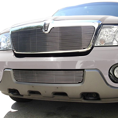 E-Autogrilles 03-04 Lincoln Navigator Aluminum Polished 4mm Horizontal Replacement Billet Packaged Grille with ABS Shell and Bumper Billet Grille Combo (42-5107)