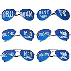 BMC 6 pc Wedding Party Colored Decal Metal Frame Aviator Style Sunglasses Set - Groom's Gang