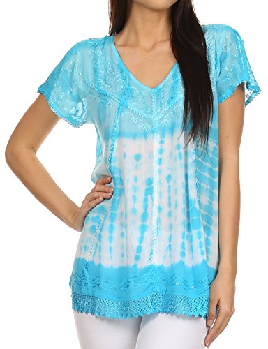 (Sakkas 776 - Violet Embroidery Tie Dye Sequin Accents Blouse/Top - Sky Blue - OS)