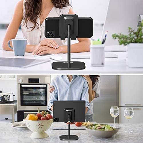 Cell Phone Stand for Desk, HORUMP Angle Height Adjustable Phone Holder Stand for Desk, Compatible with iPhone, iPad, Kindle, Tablet, All Mobile Phones