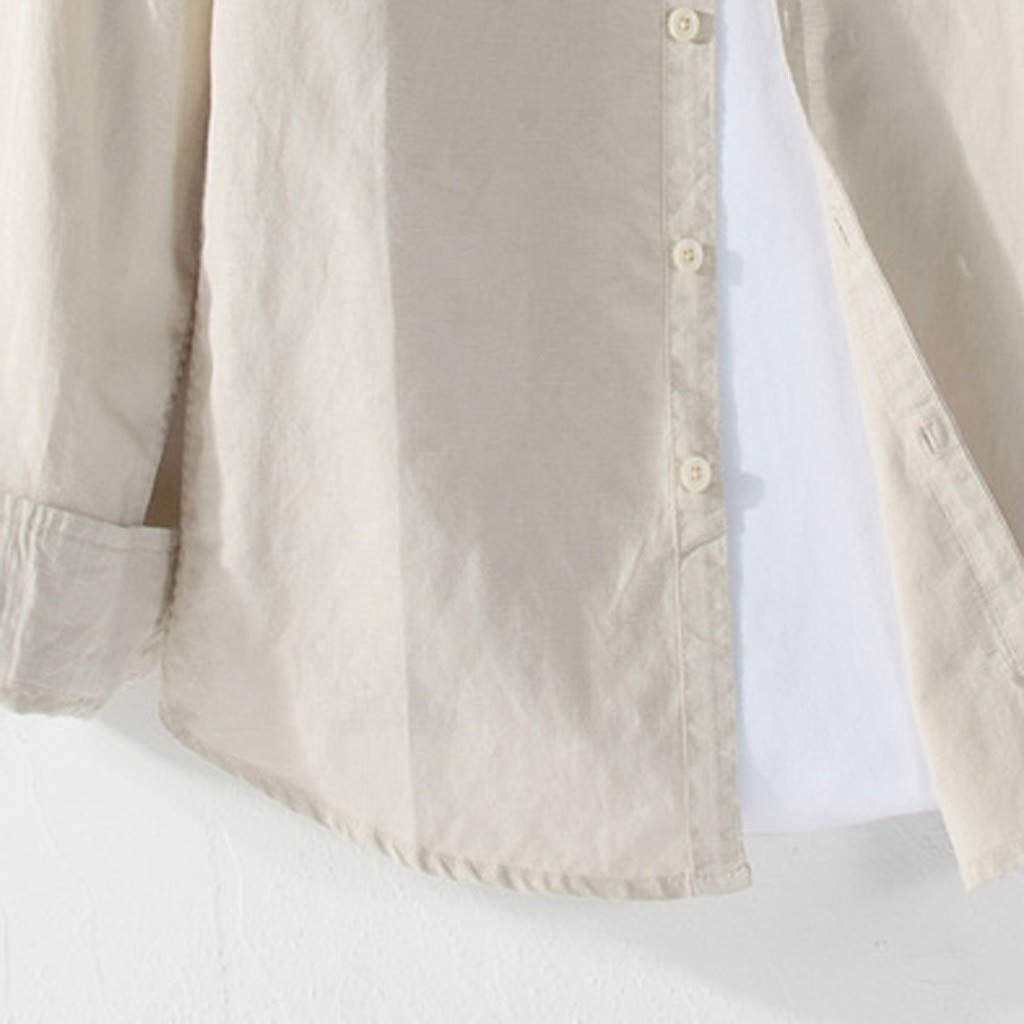 khdug✿ Shirts for Men,Causal Shirt Long Sleeve Top Button Cotton Linen Solid Color Loose Blouse Top