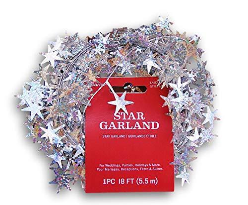 My Little Christmas Silver Star Christmas Tinsel Mini Garland - 18 Ft (Christmas Garland Mini)