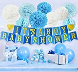 Baby Shower Decorations for Boy Kit, IT'S A BOY BABY SHOWER Banner Tissue Paper Pom Poms, Tissue Honeycomb Balls, Turquoise, Baby Blue, Glitter Gold, White, Hanging Party Decorations, Party Supplies