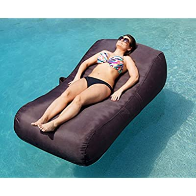 Aquadolce Pool Lounger - Deluxe Oversized Pool Float with Durable ESPRESSO Nylon, Luxury Living Inflatable Chaise Lounger by Aquadolce: Toys & Games