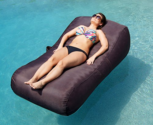 - Aquadolce Pool Lounger - Deluxe Oversized Pool Float with Durable ESPRESSO Nylon, Luxury Living Inflatable Chaise Lounger by Aquadolce