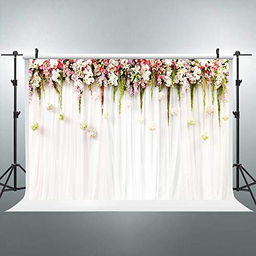 (Riyidecor Bridal Floral Backdrop Wedding Flowers Blossom Photography Background 7x5 Feet Baby Shower Wall Decoration Birthday Studio Newborn Props Party Photo Dessert Table Shoot Vinyl)