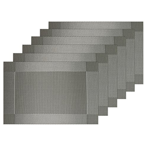 Guwheat Placemats Dining Room Table Mats Woven Vinyl Washable Durable Heat-resistant Non-skip Kitchen PVC Placemats (6, Silver grey)