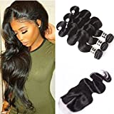 Brazilian Body Wave Human Hair 3 Bundles With Closure Middle Part 4 Pcs/lot Natural Hair Weaves Extensions Brazilian Virgin Hair Bundles With Closure (12 14 16 with 10) Review