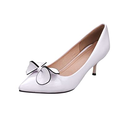 e10d333c50e Mee Shoes Kitten-Heel Stereo Bowknot Pointed-Toe Court Shoes