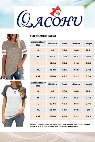 QACOHU Womens Leopard Color Block T Shirts Casual Striped Short Sleeve Tunic Tops