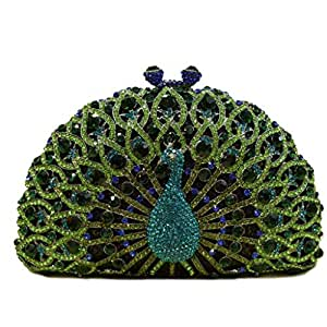 ZLACA Ladies Sequined Peacock Clutch Bag Evening Dress, Formal Bridal Wedding Clutch Bag Prom Cocktail Party Handbag (Color : Green, Size : One Size)