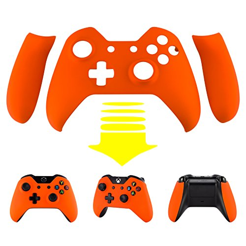 eXtremeRate Orange Soft Touch Front Shell Faceplate with Left Right Grip Panel Handle Side Rails for Microsoft Xbox One Controller