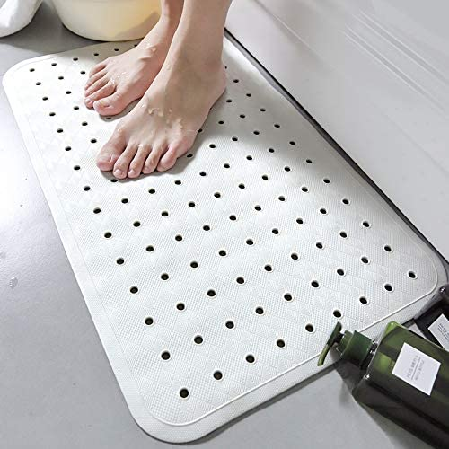 wei/ß mit Saugn/äpfen 30 cm x 60 cm JIGAN Antimykotische Rutschfeste Gummibadematte