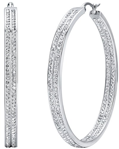 (Women's Stainless Steel Large Hoop Earrings Rhinestone Gold Tone Pierced)