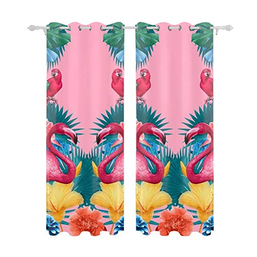 Cecil Beard Curtains 2 Panel Set,Flamingo and Tropical Garden Picture Print, Living Room Bedroom Decor, 84 W X 55 L Inches from Cecil Beard