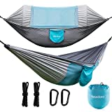 Newdora 2 Person Camping Hammock with Mosquito Net, Ultralight Portable Double Parachute Hammocks, Swing Sleeping Hammock Bed with Net and 2 x Hanging Straps for Outdoor, Hiking, Backpacking, Travel