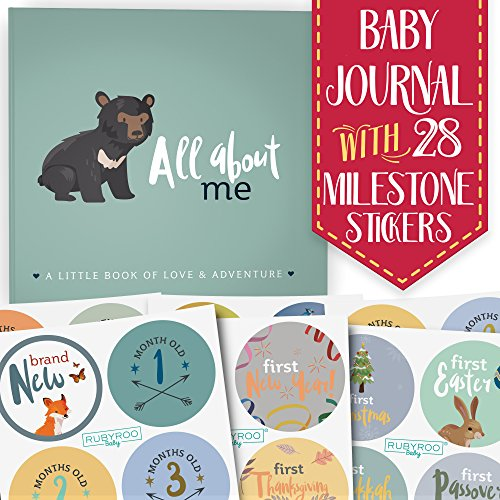 (First Year Baby Memory Journal Book + Bonus Monthly Milestone Stickers. Baby Shower Gift + Keepsake to Record Photos + milestones. Five Year Scrapbook + Picture Album. Boy + Girl Babies. (Woodland))